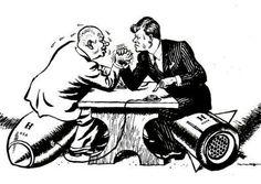 Hier zie je de strijd in de koude oorlog. Doordat beide mannen op een bom zitten is het wel duidelijk dat er oorlog is. Bovendien zijn ze ook nog armpje aan het drukken en staan de zweetdruppels op zijn hoofd (1). De ene man is in het wit en de andere in het zwart gekleed, deze kleuren staan in groot contrast met elkaar, net zoals de ideeën van de 2 mannen (2).