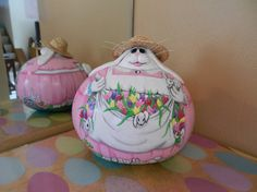 Spring Bunny Mother Handpainted Gourd by BostfulBits on Etsy, $50.00