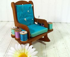 Vintage Handmade Wooden Turquoise Padded Rocking Chair - Primitive Doll Display…