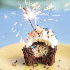 Bake It in a Cake • The Ultimate Birthday Cake Cupcakes - mini sprinkle cupcakes baked inside chocolate cupcakes