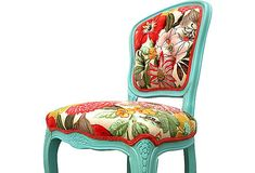 Upholstered French Side Chair Colorful Aqua Floral Flower Designer Fabric Painted Chair Modern Shabby Chic Eclectic on Etsy, $915.00