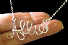 Personalized Sterling Silver Wire Name Necklace, Personalized Name, Custom Name Necklace. $34.50, via Etsy.