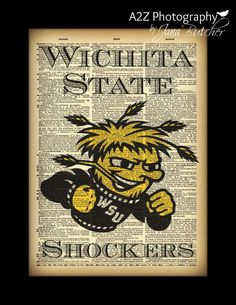Wichita State University Shockers 8x10 Dictionary Print by A2Z Photography  A perfect gift for any Shockers fan or addition to any mancave #WSU #WUShox #Shox #WichitaState #Shockers Can be customized for any team  message me for deatails  To keep updated on all my photos visit www.facebook.com/a2zphoto