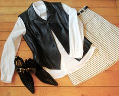 How cute is this outfit?!  Just right for a stylish Spring wardrobe.  leather vest: Anne Klein (8); skirt: Armani Collection; ankle boots: Bottega Veneta (39); white shirt: ProMod.#consignment #consignmentshopping  #designerconsignment #consignmentboutique #springfashion  #mystyle  #madamhadem #bottegaveneta #anneklein  #armanicollection FOLLOW US: facebook.com/madamhadem, Instagram: madam_hadem, Twitter: @Madam Had'em