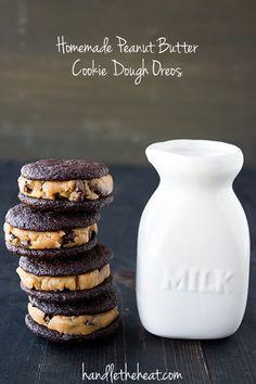 Homemade Peanut Butter Cookie Dough Oreos from @Hannah Mestel Mestel Dale the Heat | Tessa Arias