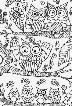 Easy Kids Crafts Doodle Designs Coloring Book Pages Digital Image Owl Art Free Pattern Embroidery Patterns Zentangle Owls Burnt Wood