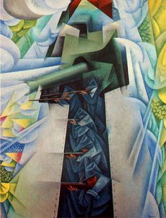 "Gino Severini's ""Armored Train in Action"" Futurism sought to ""glorify war."" Italian Futurism, Reconstructing the Universe,"" Futurist Painting, Gino Severini, Umberto Boccioni, Giacomo Balla, Italian Futurism, Dynamic Painting, Ww1 Art, Futurism Art, Italian Painters"