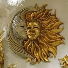 Amazing wall hanging sold at a shop at the mall in the Venetian Hotel in Las Vegas Mais Sun Moon Stars, Sun And Stars, Moon Face, Sun Art, Venetian Masks, Moon Design, Moon Child, Clay Creations, Clay Art