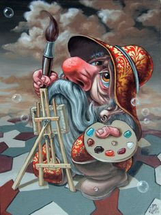 The Great Artist by Victor Molev Fantasy Wizard, Fantasy Art, Pencil Drawings Of Flowers, Art Drawings, Surreal Artwork, Christmas Paintings On Canvas, Bubble Art, Surrealism Painting, Cute Disney Wallpaper