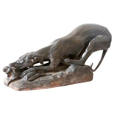 French Terracotta Hunting Dog Sculpture | via @The_Highboy at www.thehighboy.com