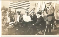 RPPC Postcard President McKinley ? Sail boat American Flag