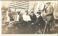 RPPC Postcard President McKinley ? Sail boat American Flag