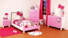 Dazzling Hello Kitty Inspired Kids Room Designs : Stunning White Hello Kitty Themed Kids Room Design with Hot Pink Curtain and Hello Kitty P...