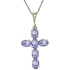 Gemstone cross necklace sterling silver necklace cross pendant tanzanite rio cross pendant necklace 15 ctw in 9ct gold aloadofball Choice Image