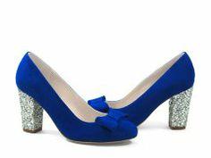 Escarpin bout rond en velours bleu gitane et glitter argent
