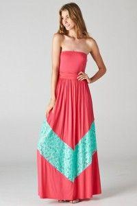 Coral & Mint Lace Chevron Maxi Dress $39.99 www.nanamacs.com/dresses