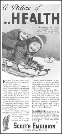 1934 advertisement for cod liver oil