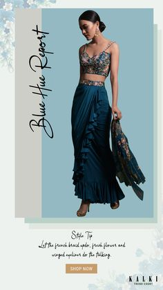 Kreetika Sharma In Kalki Teal Frill Draped Skirt With Embroidered Blouse And Cape Style Net Jacket Online - Kalki Fashion Draped Skirt, Slit Skirt, Cotton Saree Blouse, Skirt Fashion, Fashion Outfits, French Knots, Blue Crop Tops, Deep Water, Crepe Fabric
