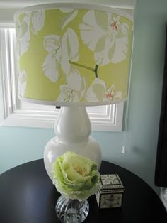 Custom patterned lamp shade using Raoul fabric-- Okay I love the lamp, and the fabric is Raoul--♥♥♥
