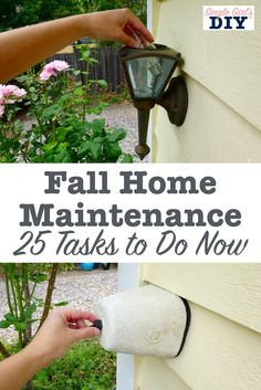 You work hard to make your home beautiful. Don't forget to take the time to do the projects that will help you keep it that way. Here are 25 fall home maintenance tasks that your home will thank you f Home Improvement Projects, Home Projects, Home Renovation, Home Remodeling, Home Maintenance Checklist, Diy Home Decor For Apartments, Apartment Ideas, Diy Home Repair, Home Upgrades