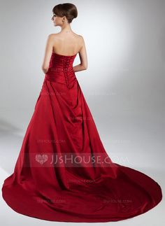 Ball-Gown Sweetheart Cathedral Train Satin Wedding Dress With Ruffle (002015383) - JJsHouse