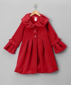 Take a look at this Just Kids Red Lined Pleated Peacoat - Girls on zulily today!