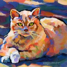 Animal paintings and pet portraits by Louisiana artist Karen Mathison Schmidt, impressionist and colorist animal art. Art And Illustration, Illustrations, Watercolor Cat, Animal Paintings, Art Paintings, Cat Colors, Cat Drawing, Anime Comics, Dog Art