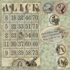 Vintage Alice in Wonderland Bingo game card.