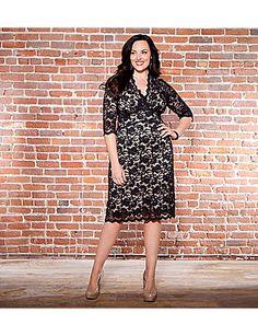 3/4 Sleeve Scalloped Boudoir Lace Dress by Kiyonna $158 Plus Size