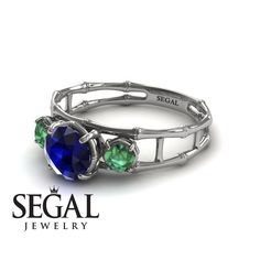 Unique Engagement Ring 14K White Gold Bamboo by SegalJewelry