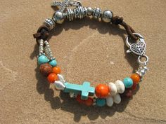 Sunrisetriple strand suede coral turquoise by fleurdesignz on Etsy, $28.00.  Check out my new shop on Etsy.