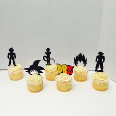 Dragon Ball Z cupcake toppers.  Featuring : Goku Vegeta Frieza DBZ logo Gokus Hair Vegetas Hair   10 ct. Per order, includes Goku, Vegeta and DBZ logo.    Toppers measure 2 inches tall.  Can be chosen in different style.  Need a different Character? Lets us know