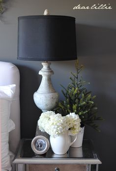 Christmas House Tour 2012 by Dear Lillie, black lampshades for dining room buffet