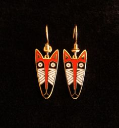 cool! LAUREL BURCH Red Fox Mask Earrings New on Card by Circa71Jewelry