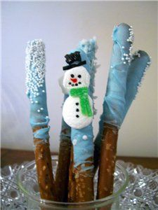 Snowman Pretzel Rods.