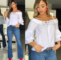 Calças coloridas, jeans azuis, camisa feminina, roupa de praia, ideias p Cute Summer Outfits, Cute Outfits, Best Bow, Fashion Outfits, Womens Fashion, Ideias Fashion, Chiffon, Ruffle Blouse, Nyc