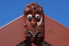 Detail of Maori meeting house, Rotorua NZ Buildings, Lion Sculpture, Statue, Detail, House, Maori, Home, Haus, Houses
