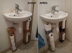 étagères DIY en palette pour toilette PQ, déco | DIY Perso ...
