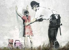 Lost Banksy, Glastonberry UK, painted over by vandals and chipped out by souvenir collectors, 2008.