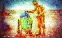 C-3PO, R2-D2 by Henstepbatbot R2 D2, Digital Art, Portrait, Painting, Headshot Photography, Painting Art, Portrait Paintings, Paintings, Painted Canvas