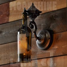 The French Quarter Wine Sconce - Elegant Wall Light for Wine Cellars, Bars, or Dining Area - Customizable Metal Finish - Vintage Style Bulb Wine Bottle Wall, Wine Bottle Crafts, Bottle Art, Liquor Bottle Lights, French Quarter, Chandeliers, Cutting Wine Bottles, Wine Images, Steampunk Lamp