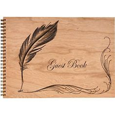 Wooden Feather Spiral Guest Book
