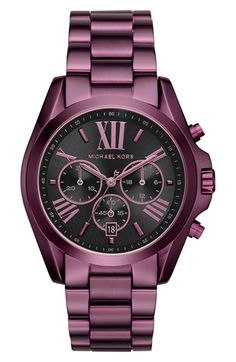 Free shipping and returns on MICHAEL Michael Kors 'Bradshaw' Chronograph Bracelet Watch, 43mm at Nordstrom.com. Roman numerals on a shadowy sunray dial give sophisticated style to a handsome chronograph forged in finely brushed steel.