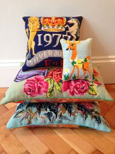 Needlepoint cushions by Miss Pritch Vintage Cross Stitches, Vintage Embroidery, Cross Stitch Embroidery, Upcycled Crafts, Handmade Crafts, Cross Stitch Cushion, Diy Sac, Needlepoint Pillows, Vintage Textiles