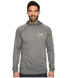 Under Armour Tech Terry Fitted Pollover Hoodie In Carbon Heather Kangaroo Pouch, Under Armour Men, Tech, Mens Fashion, Hoodies, Fitness, Sleeves, Clothes, Shopping