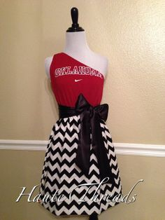 Oklahoma Sooners OU Gameday Plaid Chevron Gameday Dress by hautethreadsboutique, $55.00