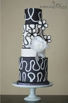 Black on white fondant inlay cake
