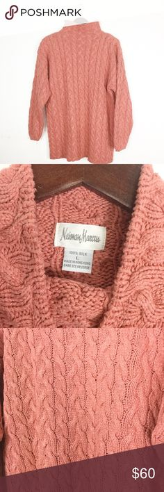 """VINTAGE NEIMAN MARCUS CHUNKY SILK SWEATER Super soft and cozy plush vintage Neiman Marcus silk mock neck cable knit sweater  Excellent condition - no flaws. 100% silk. Professionally dry clean only.   Length: 28"""" Width: 22.5"""" *All measurements approximate hand measurements taken laid flat, double where necessary. Vintage Sweaters"""