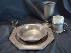 8 Well Aged Octogonal Armetale Pewter Five Piece Place Settings - Goblets, Mugs, Dinner Plates, Bowls, Napkin Rings + Serveware = 45 pieces