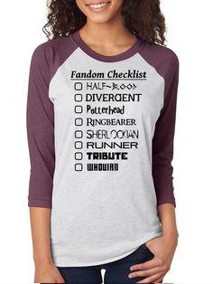 Fandom Checklist Maze Runner, Divergent, Multi Fandom, fangirls, Raglan 3/4 Sleeve Unisex Baseball Tee, Nerd Girl Tees,